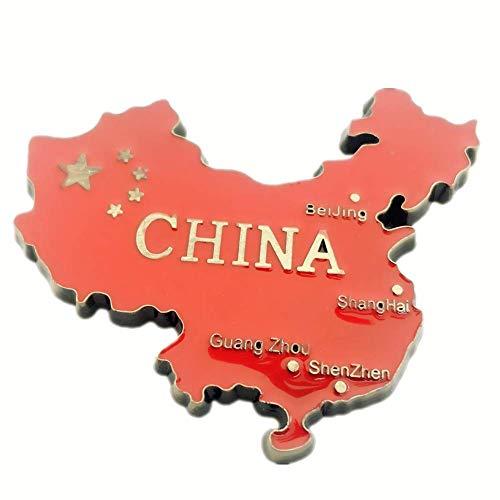 Weekinglo Souvenir Mapa de China Imán de Nevera 3D de Metal Artesanía Hecha A Mano Turista Viaje Ciudad Recuerdo Colección Carta Refrigerador Etiqueta