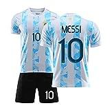 HSDJ 2021 Méssi Argentina Inicio y Jersey de fútbol, Camisetas de fútbol para Adultos y niños, Secado rápido y Transpirable Light Blue-M
