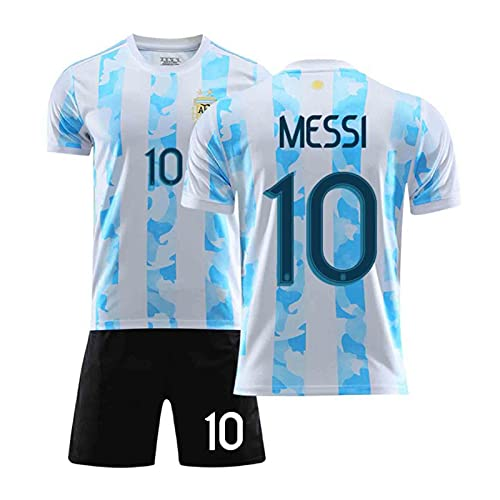 HSDJ 2021 Méssi Argentina Inicio y Jersey de fútbol, Camisetas de fútbol para Adultos y niños, Secado rápido y Transpirable Light Blue-L