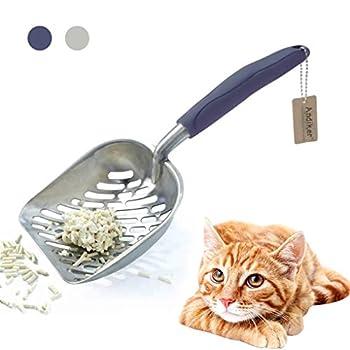 Andiker Bac à litière en métal durable avec poignée longue ergonomique et grande fente pour litière pour animal domestique Facile à nettoyer