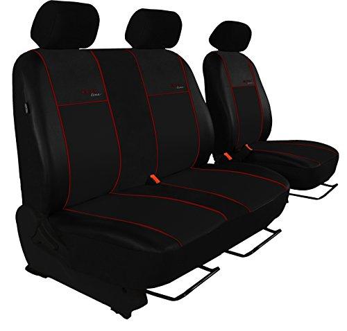 Maßgefertigte Sitzbezüge, Fahrersitz + 2er Beifahrersitzbank Design ECO-Line Hier mit Bordeaux Lamelle