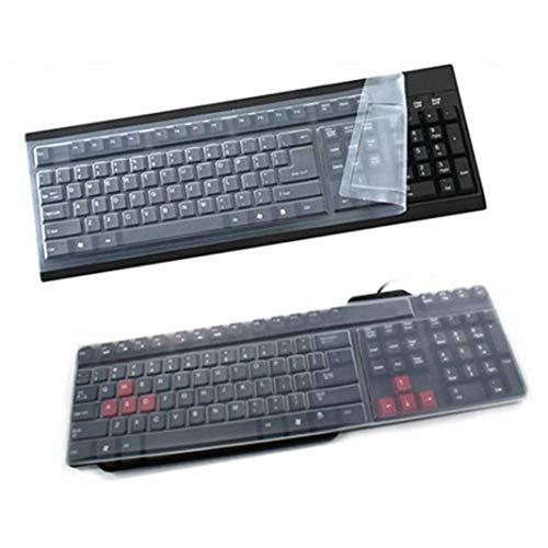 Brussels08 - Copritastiera protettiva universale, in silicone, trasparente, impermeabile, anti-polvere, per tastiera di computer desktop di dimensioni standard, a 108 tasti