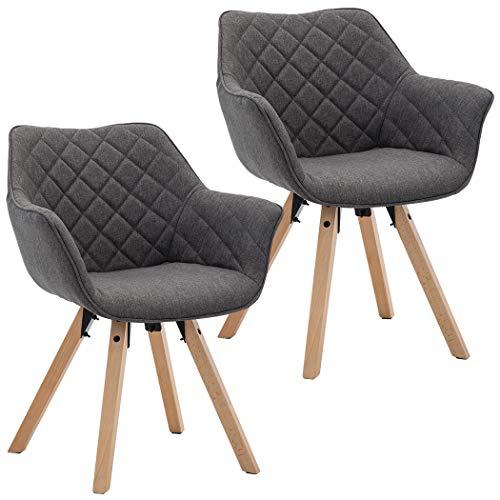 Duhome 2er Set Esszimmerstuhl Grau Küchenstuhl mit Holzbeinen Sessel Armlehnstuhl Retro Stoffbezug Polsterstuhl Farbauswahl 8092D, Farbe:Dunkelgrau, Material:Stoff