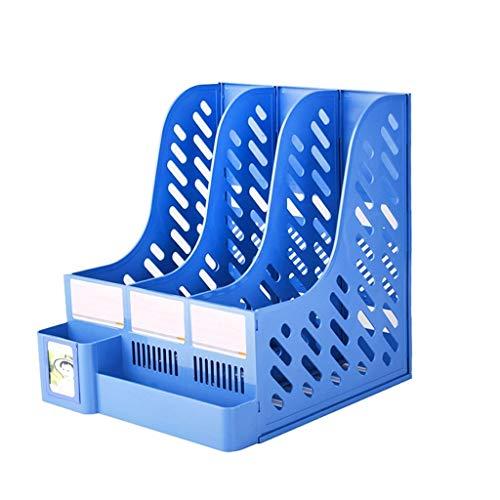 Schreibtisch Organisator/Ordner-Ablagesysteme Magazine Folder Stand Desktop Organizer Geeignet für Office-Schulfamilien Ablageboxen (Color : Blue, Größe : Three columns)
