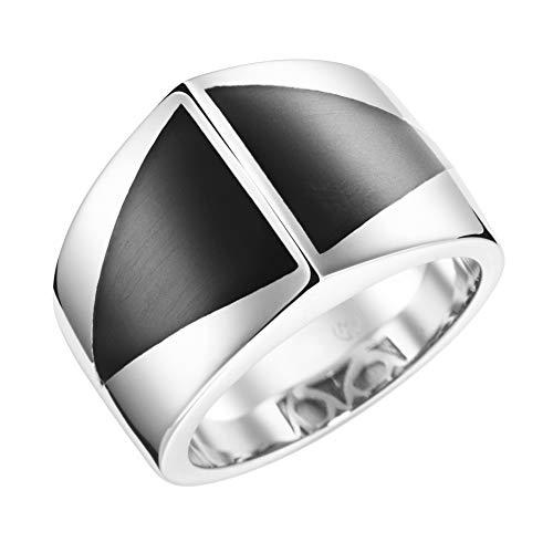 Giorgio Martello Milano Ring Mit Stein-einlage In Dreieckiger Form Schwarz, 54 925 Sterling Silber