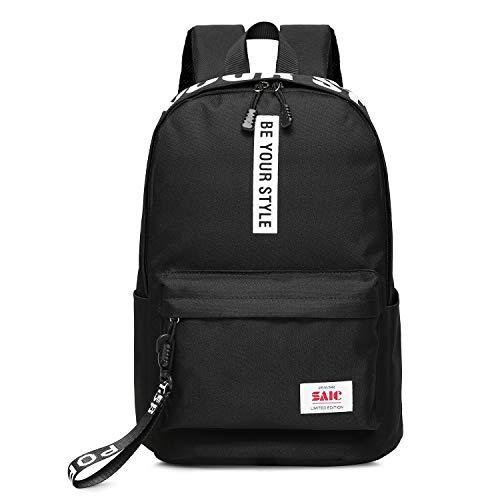 VEIYI Schulrucksack Mädchen Teenager Schultasche Damen Schulranzen Wasserdicht Rucksack Daypack für Schule Universität Reisen Freizeit Arbeit - schwarz