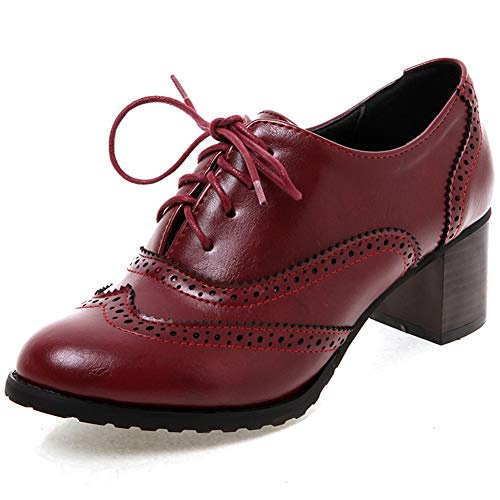 Vimisaoi Women's Vintage Oxfords Brogues Wingtip Chunky Block Heel Shoes, Lace-up Perforated Stacked Pumps Dress Saddle Shoes Gift