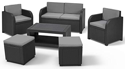 Allibert Modena Lounge Set, graphit/cool grey (poly cotton Kissen) + Cube w Hocker, graphite/cool grey (poly cotton cushion)