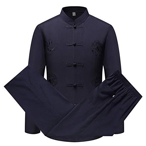 keephen Herren Tang Anzug Traditionell Chinesisch Kleidung Kampfkunst Kung Fu Kostüm Hanfu Lange Ärmel/Kurzarm Hemd Mantel Tops und Hose