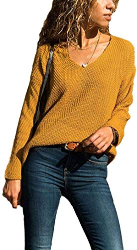 DIMANNU Women's V-Neck Solid Color Matching Long-Sleeved Slim Fits Sweater Pullover Jumper Tops Sweatershirt