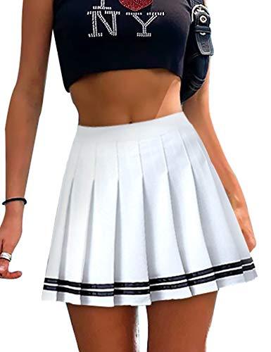 Womens Mini Pleated Skirt High Waisted Skater Tennis Skirts Golf Skort with Shorts School Girl Uniform (Striped White, Medium)