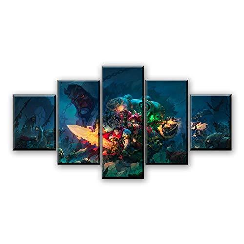 MXLYR Arte de Pared Moderno Lienzo Impresiones en HD póster Decorativo para el hogar 5 Piezas Juegos Battle Chasers Pinturas de Nightwar