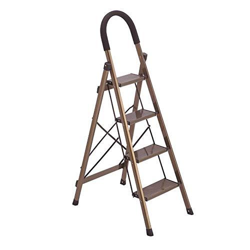 LRZLZY 4-Stufenleiter, zusammenklappbaren tragbaren Küchenleiter, Heavy Duty Mehrzweckhaushalts Schritt Hocker, Küchenleiter mit Nicht Beleg-Matte