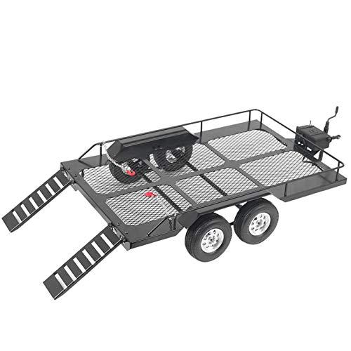 CHENGGONG 1/10 Autoanhänger, Metall Trail Autoanhänger Universelle Simulation Big Drag Trail Zubehör mit Vier Reifen Passend für RC4WD TRX4 1/10 RC Car Climbing Crawler Rock Buggy Auto