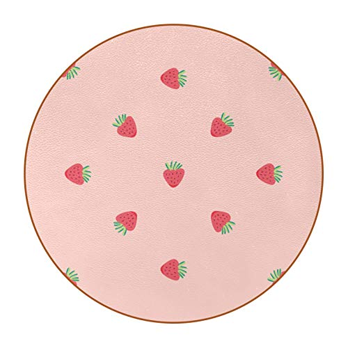 Bennigiry Mini posavasos de piel de fresa, redondos, resistentes al calor, tazas de café, tazas de cristal, 6 unidades