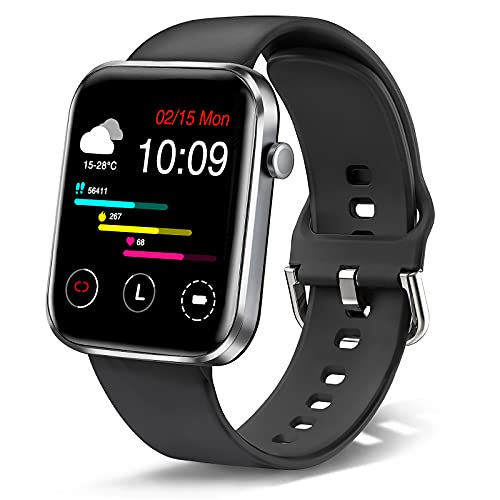 Ezanaki Smart Watch, 1.69 Zoll Fitness Armbanduhr für Damen Herren, Fitness Tracker IP67 Wasserdicht Sportuhr, Aktivitätstracker mit Schrittzähler, Schlafmonitor, Smartwatch für Android iOS Schwarz