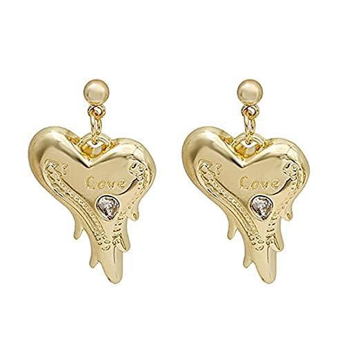 Fancysvccy Pendientes Pendientes de botón Letras de Amor Estilo de Diamante Pendientes en Forma de corazón de melocotón Gota líquida exagerada