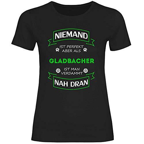 wowshirt Damen T-Shirt Fußball Trikot Gladbacher Mönchengladbach, Größe:M, Farbe:Black