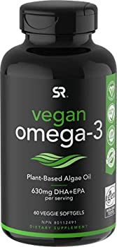 Vegan Omega-3 Fish Oil Alternative sourced from Algae Oil   Highest Levels of Vegan DHA & EPA Fatty Acids   Non-GMO Verified & Vegan Certified - 60 Veggie Softgels  Carrageenan Free