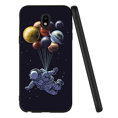ZhuoFan Funda Samsung Galaxy J3 2017 Cárcasa Silicona Ultrafina Negra con Dibujos Diseño Suave TPU Gel Antigolpes de Protector Piel Case Cover Bumper Fundas para Movil Samsung J32017, Espacio 2
