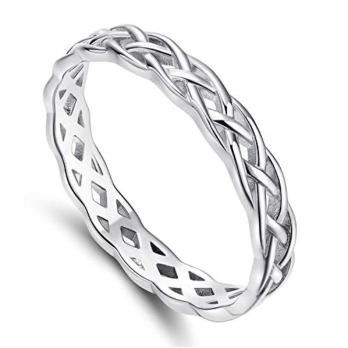 POMODA 14K White Gold Plated Ring 4mm Eternity Celtic Knot Wedding Band for Women Size 6