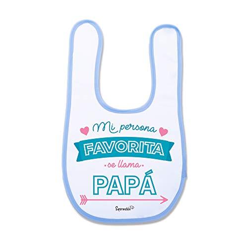 SUPERMOLON 01331 -Mi Persona Favorita Se Llama Papá Babero Bebe con Velcro, Azul Celeste, unisex