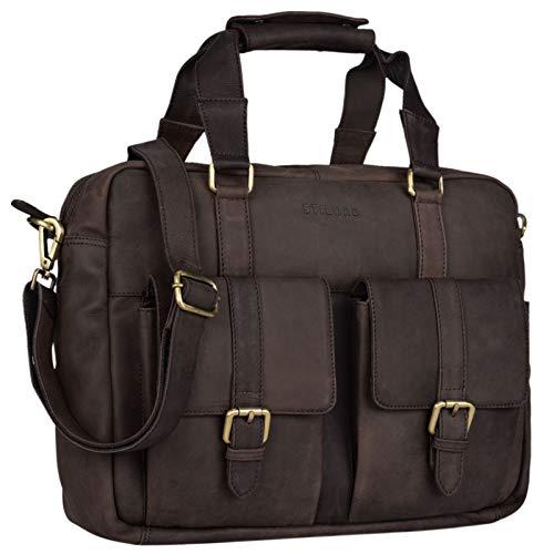 STILORD 'Vitus' lederen tas mannen vrouwen bruin draagbaar als een vintage schoudertas grote handtas met 15,6 inch laptop compartiment aktetas, Kleur:mat - donkerbruin