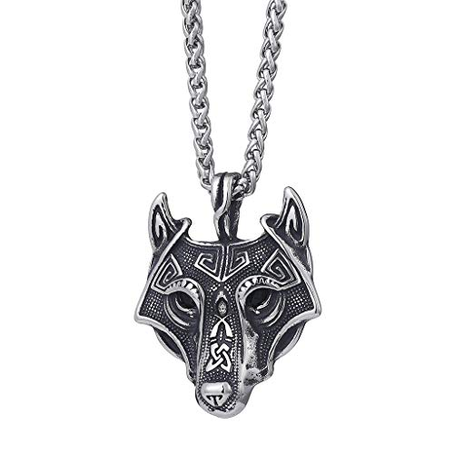 JAOYU Wolf Necklace for Women Men Viking Jewelry Celtic Wolf Head Pendant Norse Necklace , Stainless Steel 24' Chain, Gift Packaging Included
