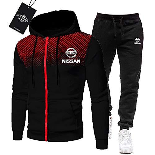 MAUXpIAO Herren Trainingsanzug Einstellen Joggen Passen Ni.S_San Kapuzenpulli Zip Jacke + Hose Sport R Fitnessstudio/black/M