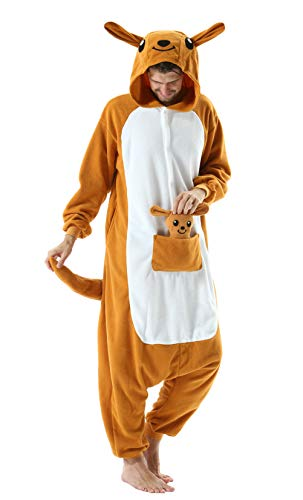 DELEY Unisexo Adulto Caliente Animal Pijamas Cosplay Disfraz Homewear Mamelucos Ropa De Dormir Canguro S