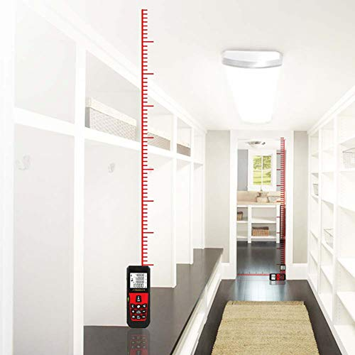 uMeasure Electronic Tape Measure 328ft,Laser Distance Meter 100M with Large Backlit Display, Digital Measuring Tape for Distance Area Volume Measurement Pythagorean Mode Battery and Pouch Included Red