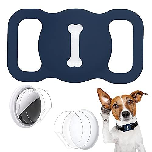 Aukvite Pet Airtag Collare Protector per Accessori per Collare per Cani e Gatti Airtag GPS Finder, con 4 Sets di Pellicole Protettive (Blu Scuro)