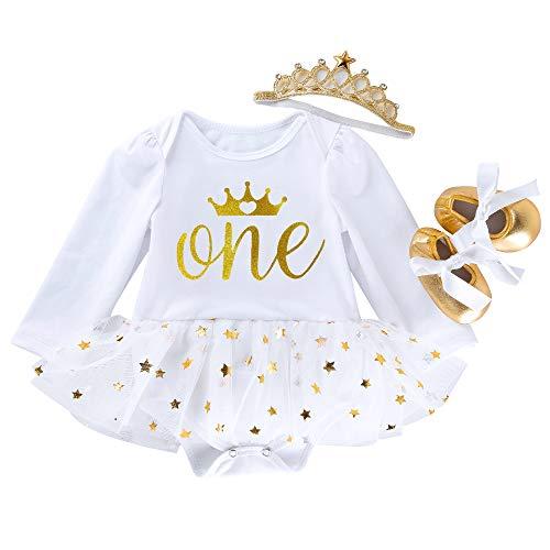 Marlegard® – Baby-Tutu-Kleidchen mit Kronen-Motiv, zum 1. Geburtstag, inkl. Haarband und Schuhe, 3-teiliges Set Gr. Einheitsgröße , Weiße Krone