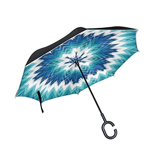 Paraguas plegables Colorful Boho Zig Zag Chevron Paraguas plegables inversos a prueba de viento UV con mango en forma de C