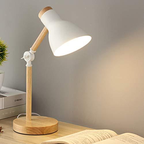 AKVQZAS Lámpara de mesa de madera Modern Wood Table Lamp 180 Degree Rotation Eye-protection Led Study Lamp Dormitory College Student Lovely Desk Light