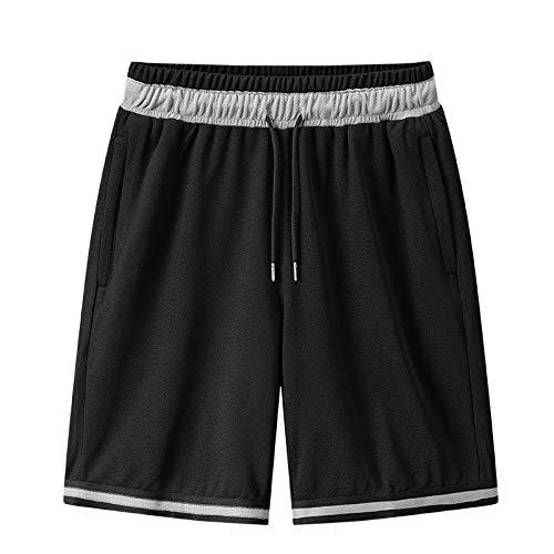 U/A Verano Baloncesto Fitness Pantalones Cortos de Punto Sueltos Capris Protector Solar Cómodo Transpirable Grande Negro Negro ( 3XL