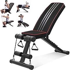 YOLEO Składana ławka wagi, Wielofunkcyjna ławka treningowa fitness, ławka 2 w 1 przysiadów z wysokiej jakości grubą tapicerką / 7-krotnie regulowanym oparciem / elastyczną liną, ławka treningowa Premium Line