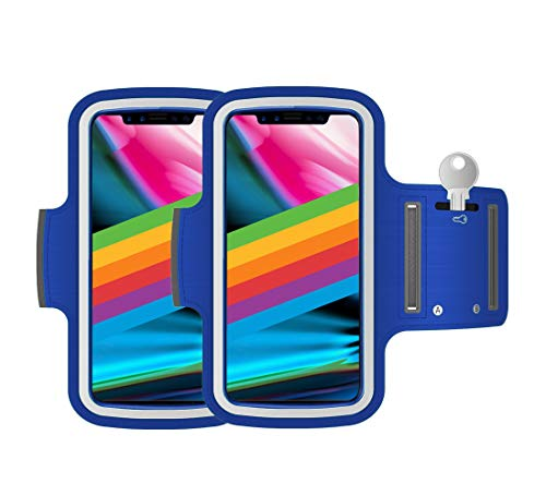Brazalete Deportivo Pack 2 uds valido para Smartphones de hasta 6' Compatible con iPhone X XS 11 Pro Samsung Galaxy S20 S10 S9 S8 S7 (Azul)