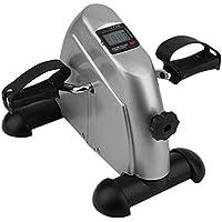 Big Shark Pedal de bicicleta de ejercicios mini bicicleta estática ejercitador de brazos y piernas del ciclo del pie portátil pedal de la máquina con pantalla LCD de visualización (plata) cubierta bic