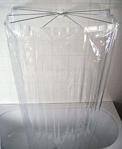 Ridder Bad Faltbarer Duschvorhang aus Kunststoff, Ombrella' Design, 210 X 170 cm, Transparent