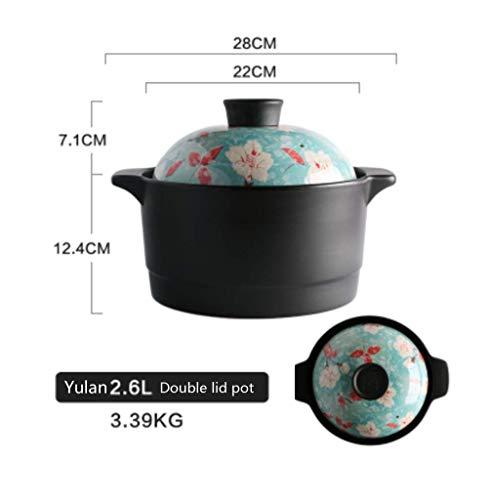 Casserole En Céramique,double-membre Haute Température Cocotte Japonais Pot De Soupe De Roche Anti-échaudage Approprié Pour La Maison Ouverte Flamme Poêle à Gaz-a 2.6l