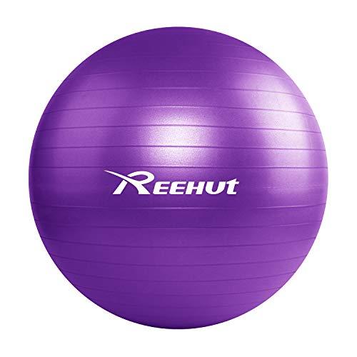 REEHUT フィットネスボール バランスボール ピラティスボール 耐荷重550KG アンチバーストヨガボール 55cm Purple