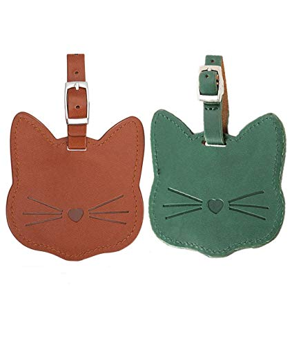 Luggage Tags,PU Leather Luggage Name Tag Concise Cat ID Label Travel Suitcase Backpack Tags for Women Men Kids-2 pack