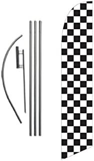 Checkered Black and White Advertising Feather Banner Swooper Flag Sign with Flag Pole Kit and Ground Stake