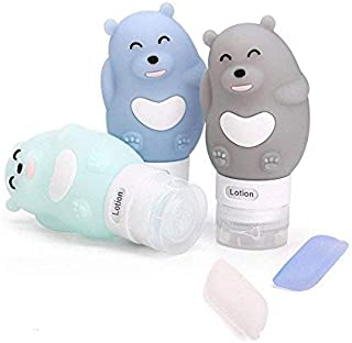 Portable Travel Bottles Set, 3-layer Leakproof and Squeezable Silicone Travel Containers and Toothbrush Cover for Shampoo, Conditioner, Lotion - BPA Free(Bear) 5 Pcs