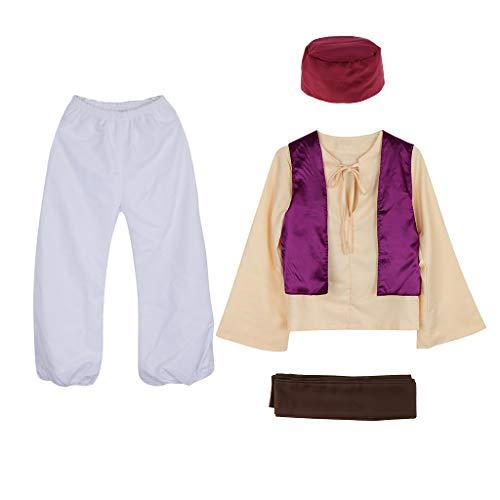 F Fityle Hombres Adolescentes de Moda Príncipe árabe Cuento de Hadas Anime Sheik árabe Persia Disfraz Sombrero Cosplay Fiesta Temática - S
