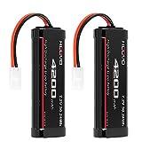 HOOVO 7.2V 4200mAh RC NiMH Battery with Tamiya Plug for RC Car Traxxas LOSI Associated HPI Kyosho Tamiya Hobby(2 Pack)