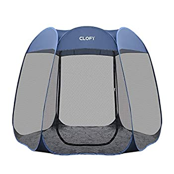 CLOFY Instant Screen Shelter Room with PE Tent Floor Mat| 360° Views Pop-up Screened Canopy Tent|Instant Portable 10 x10 x7  Screenhouse for Camping and Travel Instant 30 Seconds Setup No Tool Needed