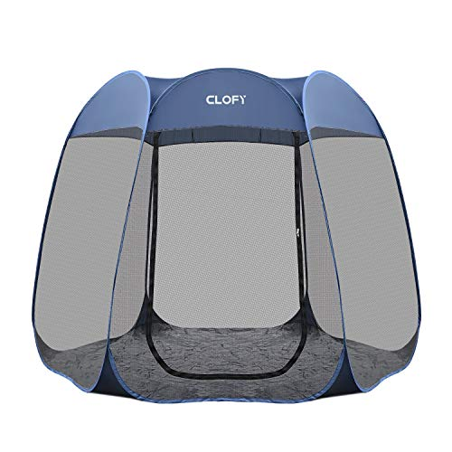 CLOFY Instant Screen Shelter Room with PE Tent Floor Mat| 360° Views Pop-up Screened Canopy Tent|Instant Portable 10'x10'x7' Screenhouse for Camping and Travel Instant 30 Seconds Setup No Tool Needed