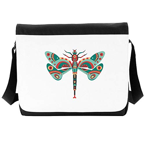 Tribal Aboriginal Style Dragonfly Crossbody Strap Shoulder Bag - Large